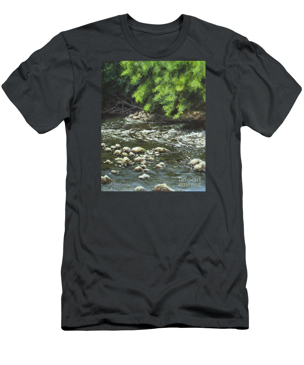 River Men's T-Shirt (Athletic Fit) featuring the painting Charles On The Rocks by Anna Starkova