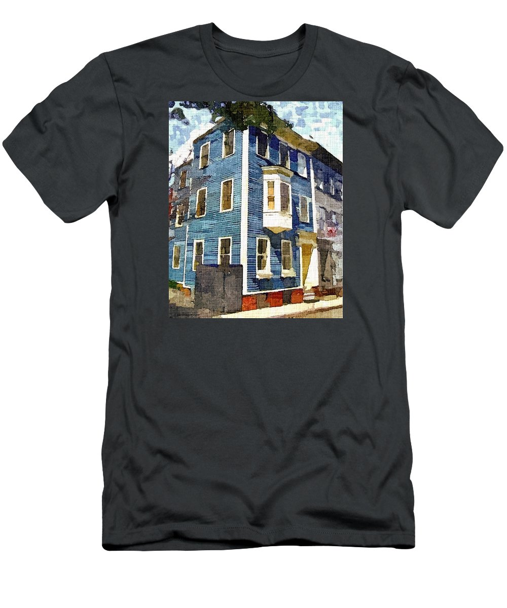 Blue House Men's T-Shirt (Athletic Fit) featuring the painting Charlestown Blues by Rachel Niedermayer