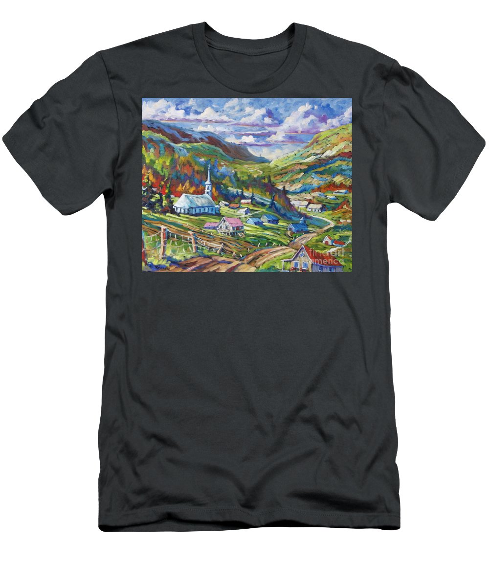 Charlevoix Men's T-Shirt (Athletic Fit) featuring the painting Charlevoix Inspiration by Richard T Pranke