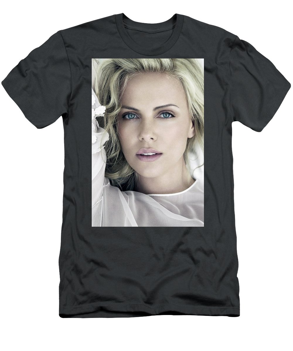Charlize Theron Blue Eyed Blonde Blouse Celebrity Hollywood 11 6x60 Men's T-Shirt (Athletic Fit) featuring the digital art Charlize Theron Blue Eyed Blonde Blouse Celebrity Hollywood 31116 640x960 by Rose Lynn