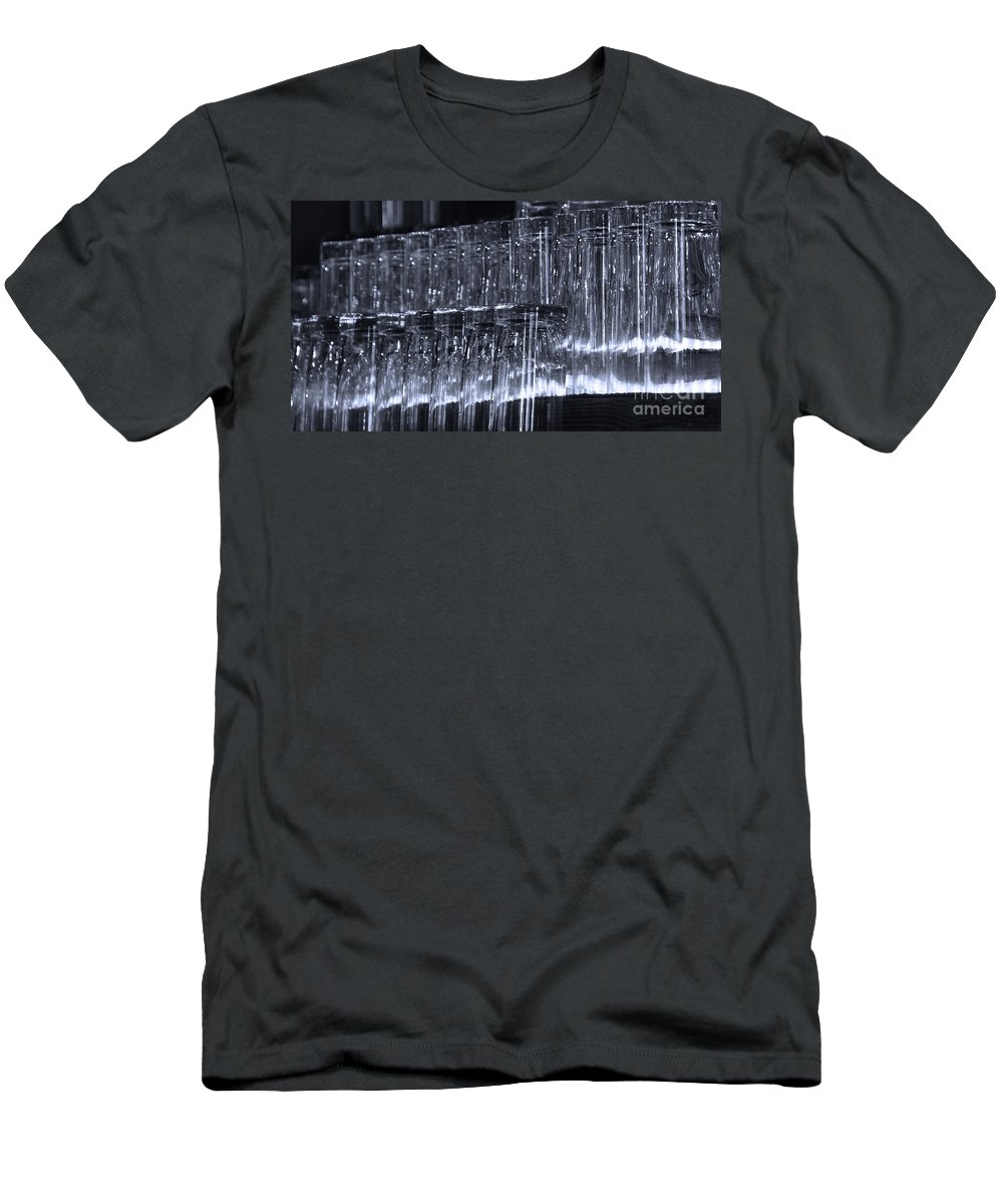 Tombstone Men's T-Shirt (Athletic Fit) featuring the photograph Chasing Waterfalls - Blue by Linda Shafer