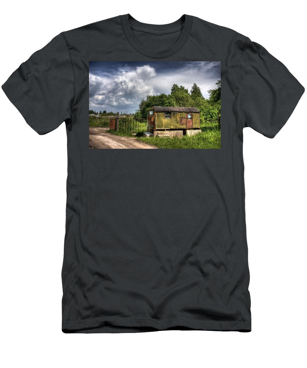 Ukraine Men's T-Shirt (Athletic Fit) featuring the photograph Checkpoint by Evelina Kremsdorf