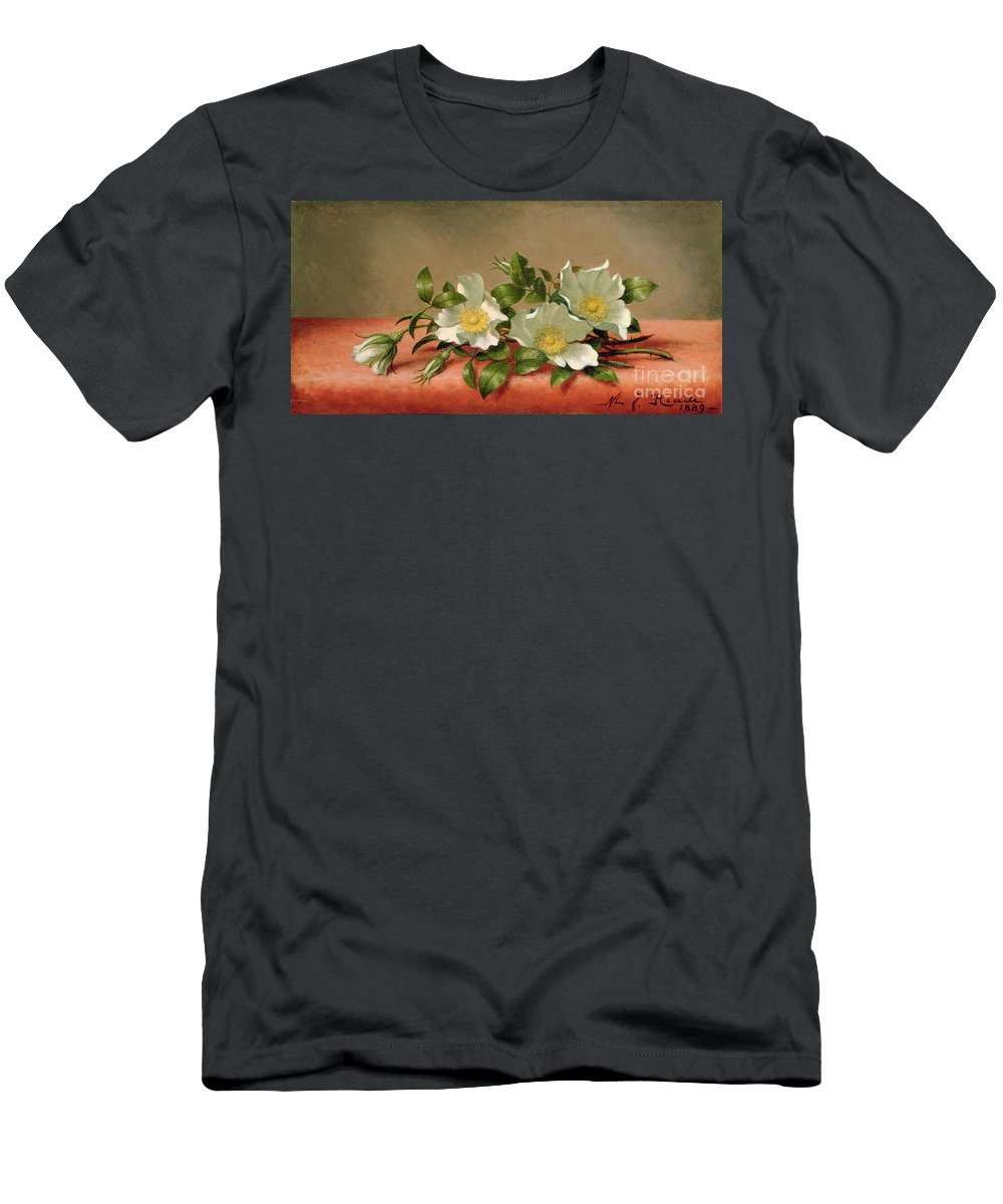 Cherokee Roses Men's T-Shirt (Athletic Fit) featuring the painting Cherokee Roses by Martin Johnson Heade