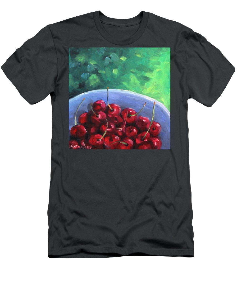 Art Men's T-Shirt (Athletic Fit) featuring the painting Cherries On A Blue Plate by Richard T Pranke