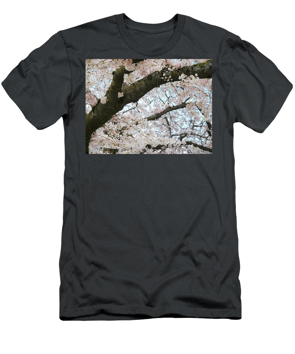 Cherry Men's T-Shirt (Athletic Fit) featuring the photograph Cherry Tree In Bloom by Maro Kentros