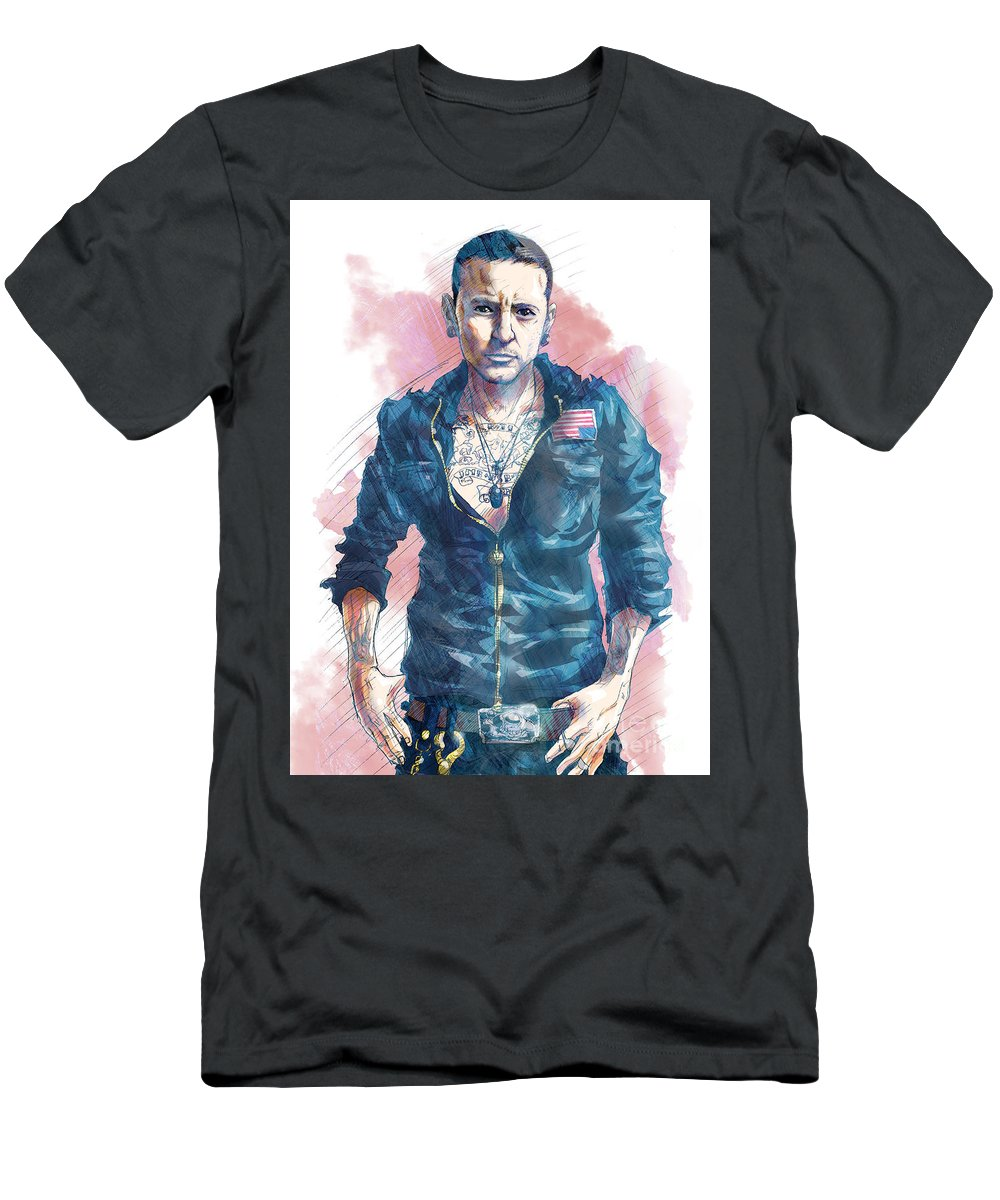 2f875ac90 Rock Men's T-Shirt (Athletic Fit) featuring the drawing Chester Bennington  Of Linkin