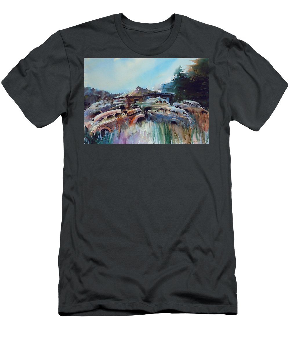 Chevs T-Shirt featuring the painting Chevs on the Slide by Ron Morrison