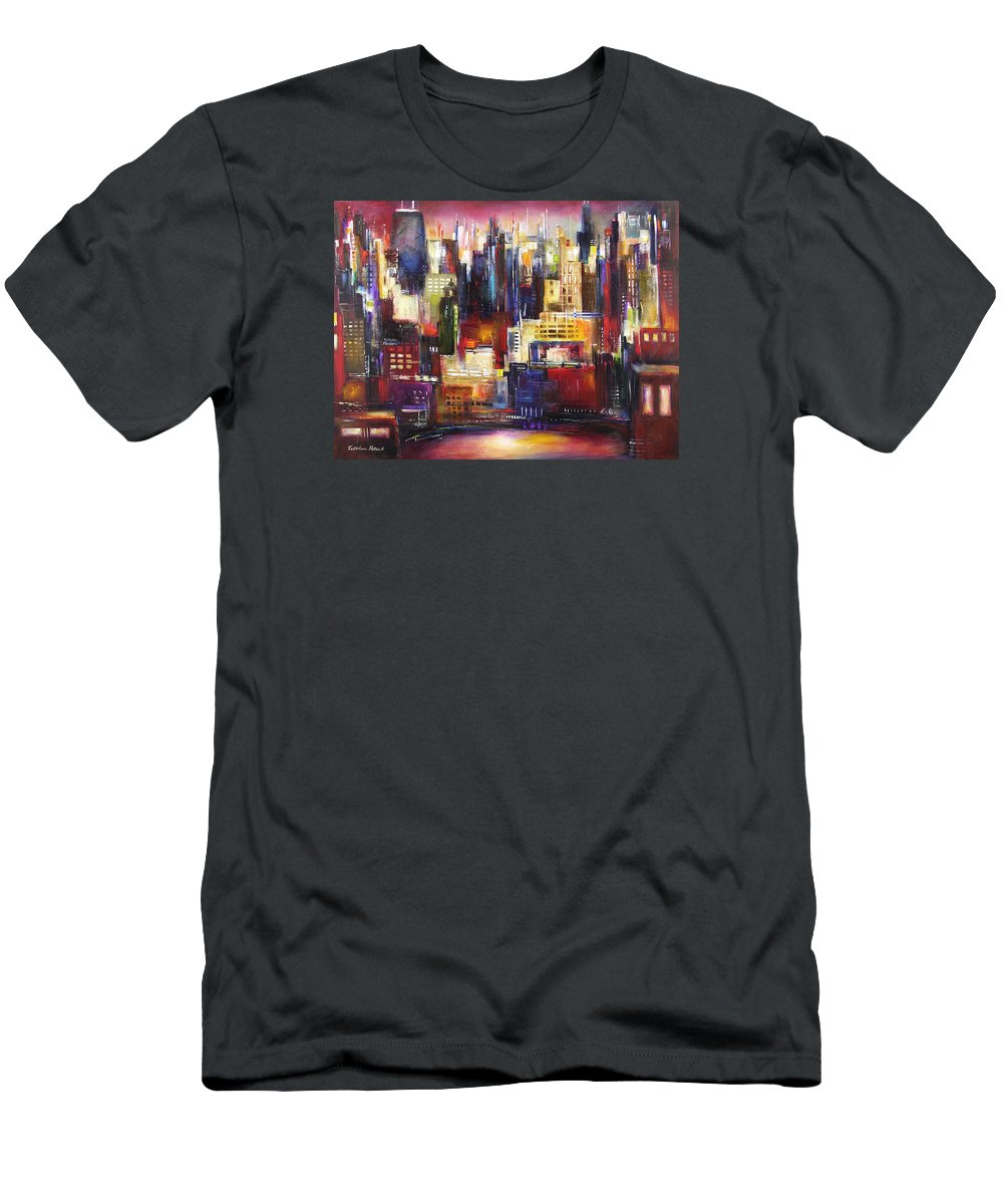 Chicago Art Men's T-Shirt (Athletic Fit) featuring the painting Chicago City View by Kathleen Patrick