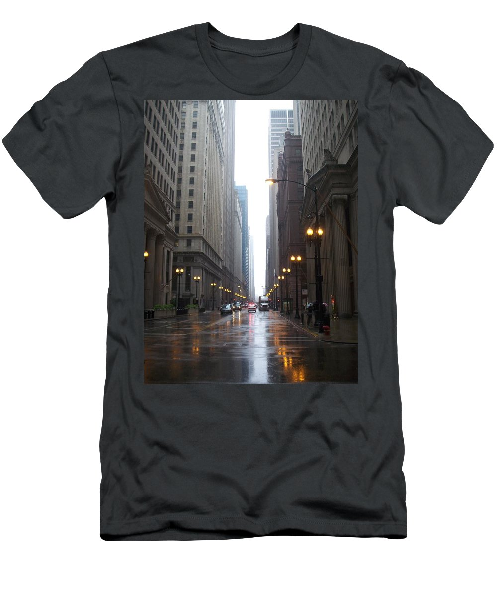 Chicago Men's T-Shirt (Athletic Fit) featuring the photograph Chicago In The Rain 2 by Anita Burgermeister