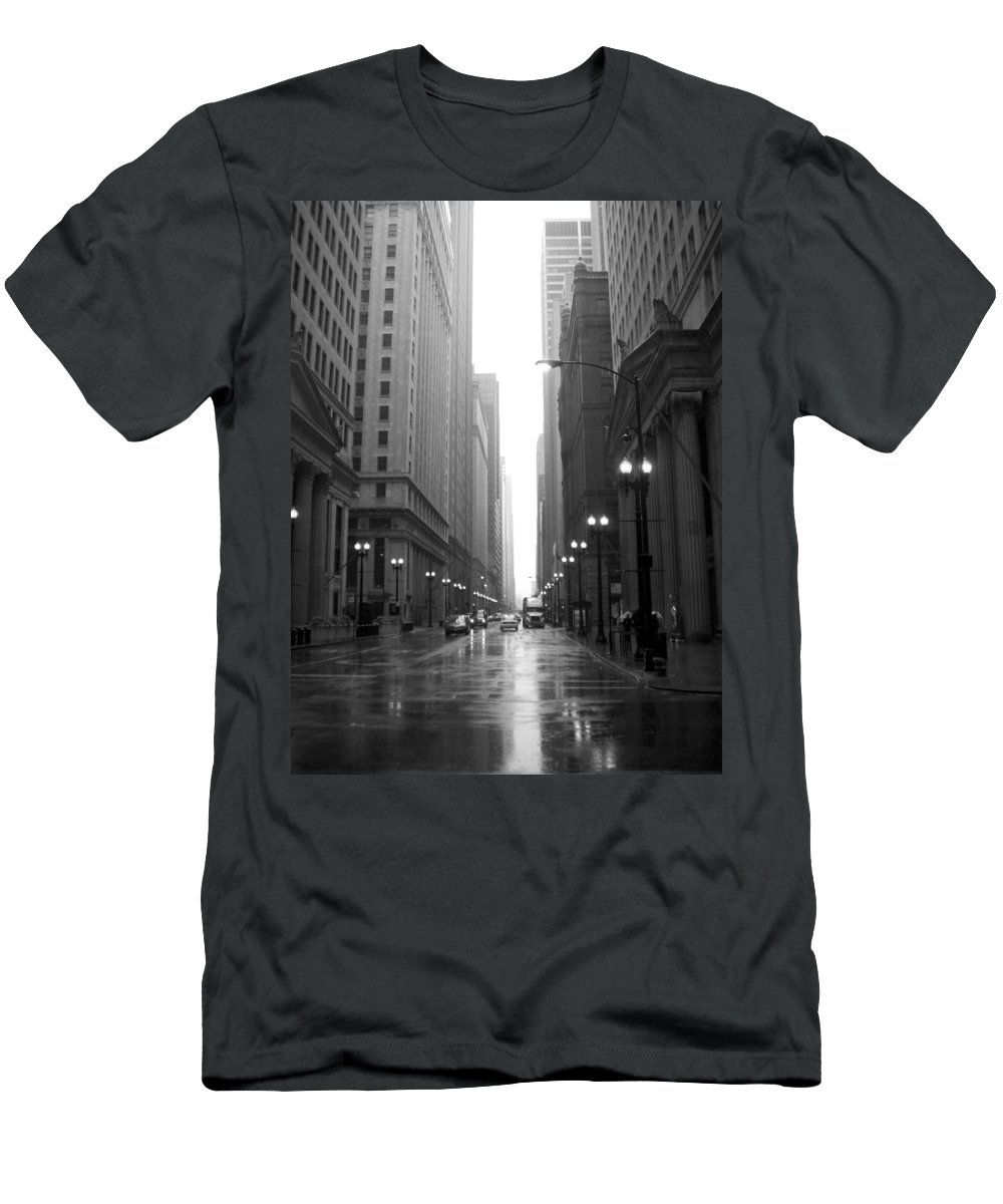 Chicago Men's T-Shirt (Athletic Fit) featuring the photograph Chicago In The Rain 2 B-w by Anita Burgermeister