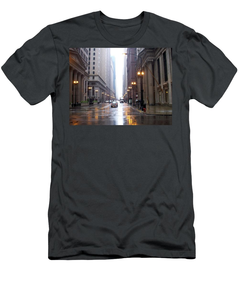 Chicago Men's T-Shirt (Athletic Fit) featuring the photograph Chicago In The Rain by Anita Burgermeister