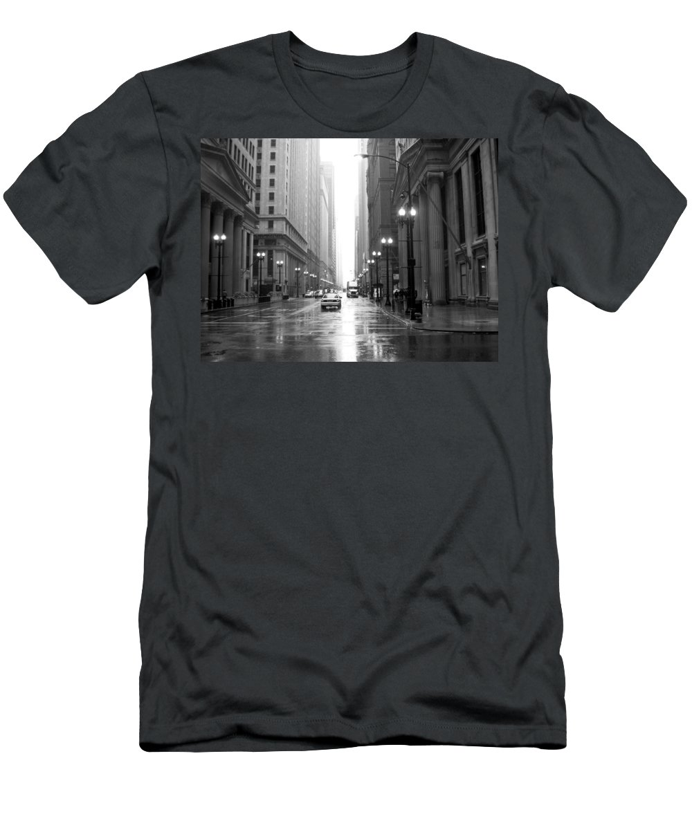 Chicago Men's T-Shirt (Athletic Fit) featuring the photograph Chicago In The Rain B-w by Anita Burgermeister