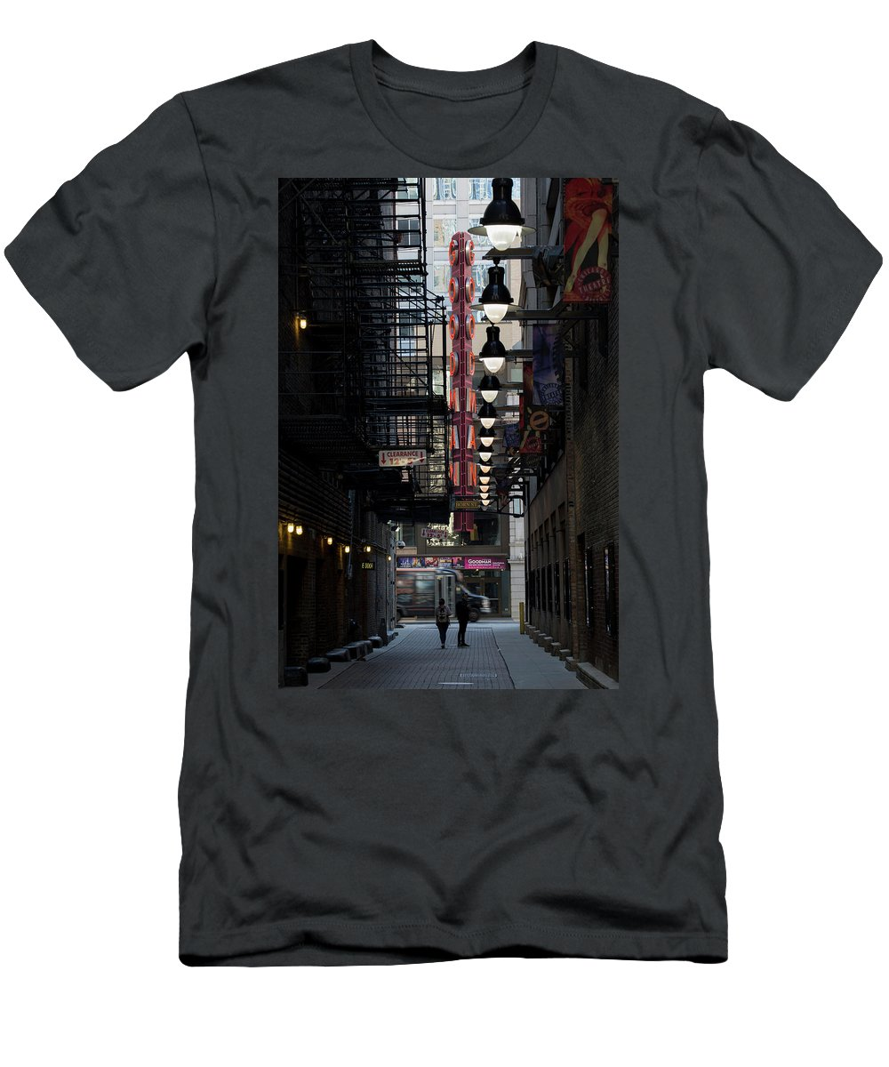 Chicago Men's T-Shirt (Athletic Fit) featuring the photograph Chicago Loop, Goodman Theater Marguee by Russell Ingram