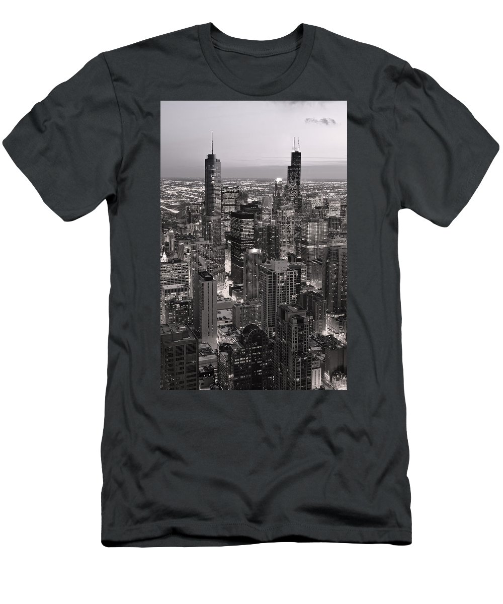 Aerial Men's T-Shirt (Athletic Fit) featuring the photograph Chicago Loop Sundown B And W by Steve Gadomski