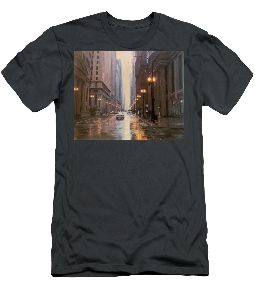 Chicago Men's T-Shirt (Athletic Fit) featuring the painting Chicago Rainy Street by Anita Burgermeister