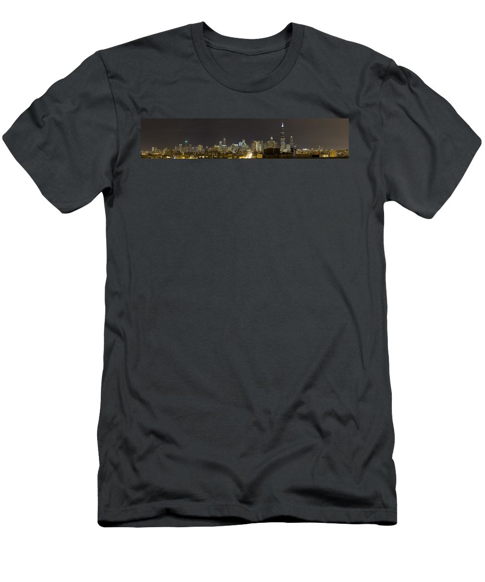 City Sky Skyline Wind Windy Windycity Il Chicago Night Dark Light Lights Street Building Tall House Men's T-Shirt (Athletic Fit) featuring the photograph Chicago Skyline by Andrei Shliakhau