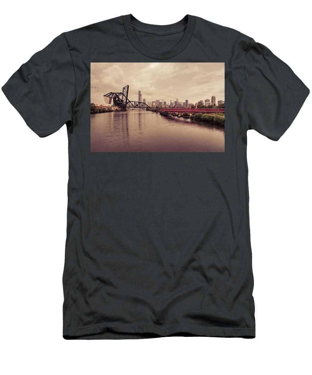 Chicago Men's T-Shirt (Athletic Fit) featuring the photograph Chicago Skyline From The Southside With Red Bridge by Anthony Doudt