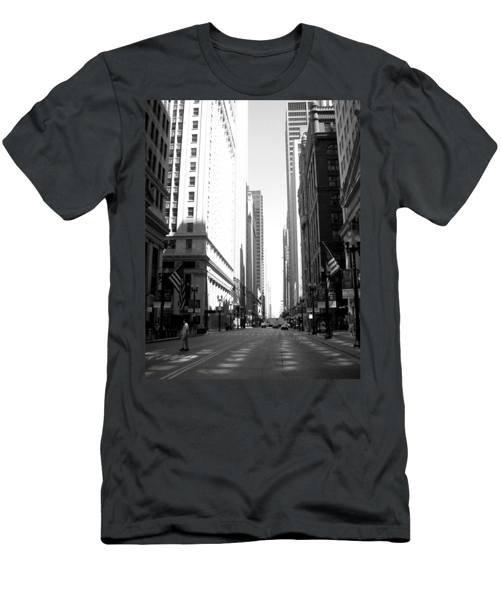 Chicago Men's T-Shirt (Athletic Fit) featuring the photograph Chicago Street With Flags B-w by Anita Burgermeister