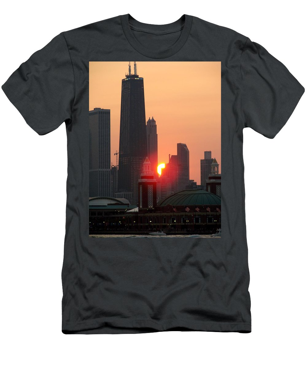 Photography Men's T-Shirt (Athletic Fit) featuring the photograph Chicago Sunset by Glory Fraulein Wolfe