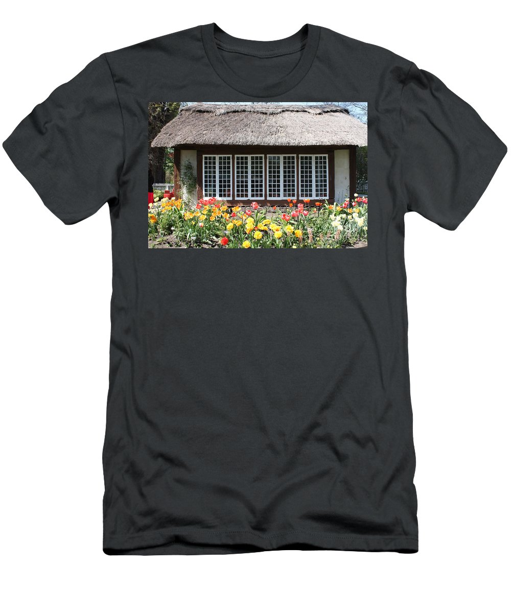 Childrens Cottage At Old Westbury Gardens Men's T-Shirt (Athletic Fit) featuring the photograph Children's Cottage At Old Westbury Gardens by John Telfer