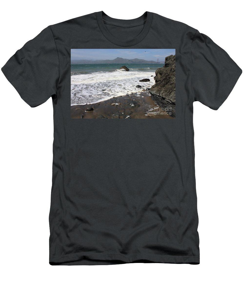 San Francisco Men's T-Shirt (Athletic Fit) featuring the photograph China Beach With Outgoing Wave by Carol Groenen