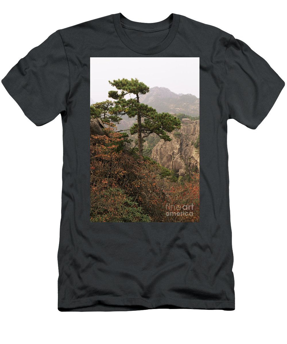 Asian Art Men's T-Shirt (Athletic Fit) featuring the photograph China, Mt. Huangshan by Larry Dale Gordon - Printscapes