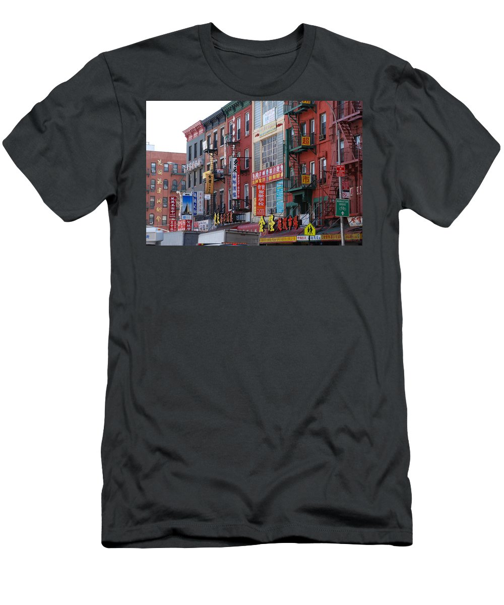 Architecture Men's T-Shirt (Athletic Fit) featuring the photograph China Town Buildings by Rob Hans