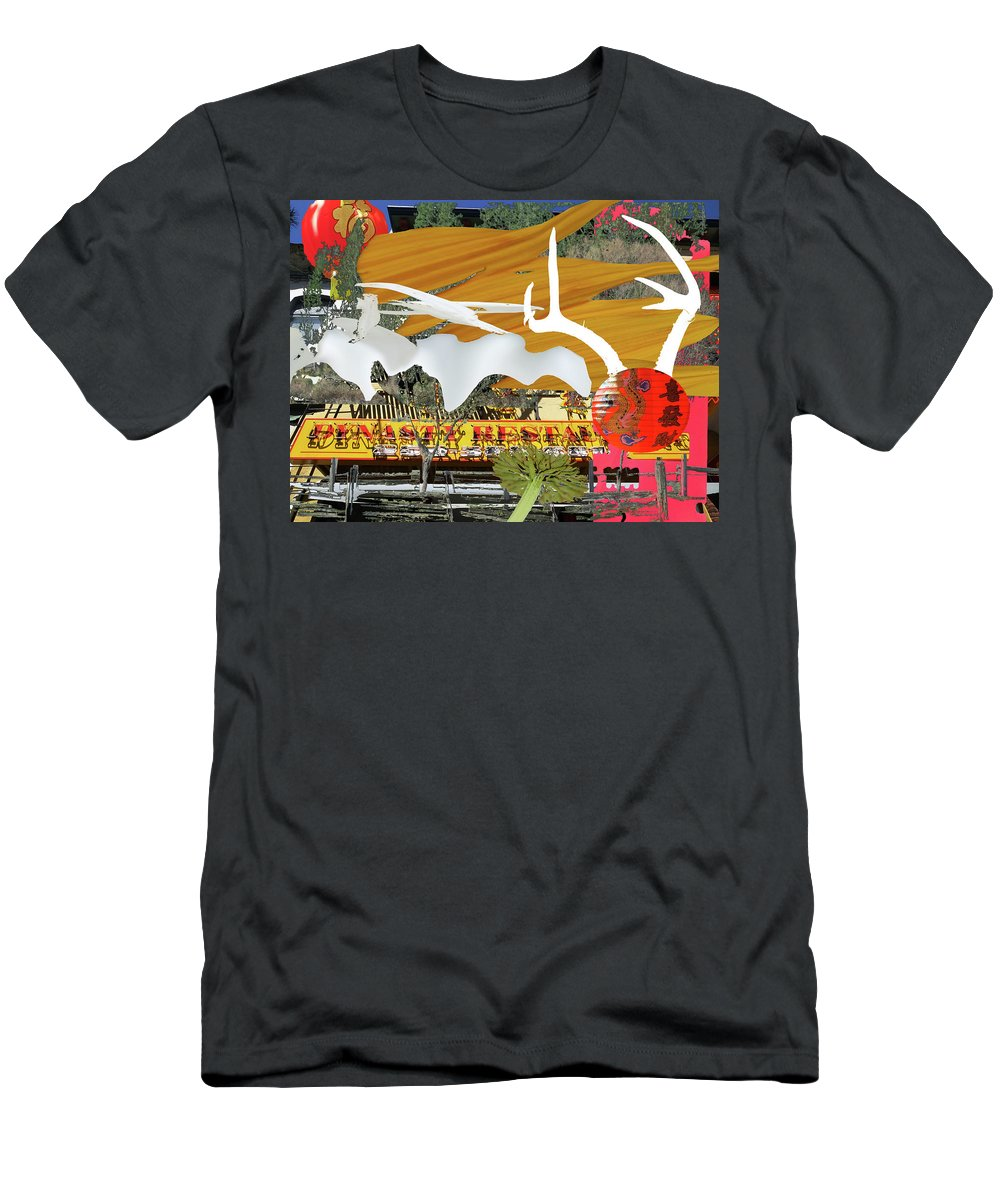 Chinatown Men's T-Shirt (Athletic Fit) featuring the photograph Chinatown Wood And Bones 3 by Lyn Perry
