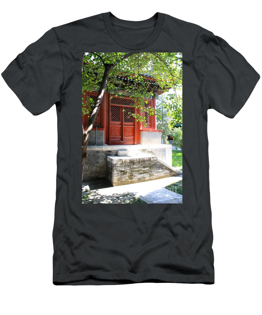 Chinese Garden Men's T-Shirt (Athletic Fit) featuring the photograph Chinese Temple Garden by Carol Groenen