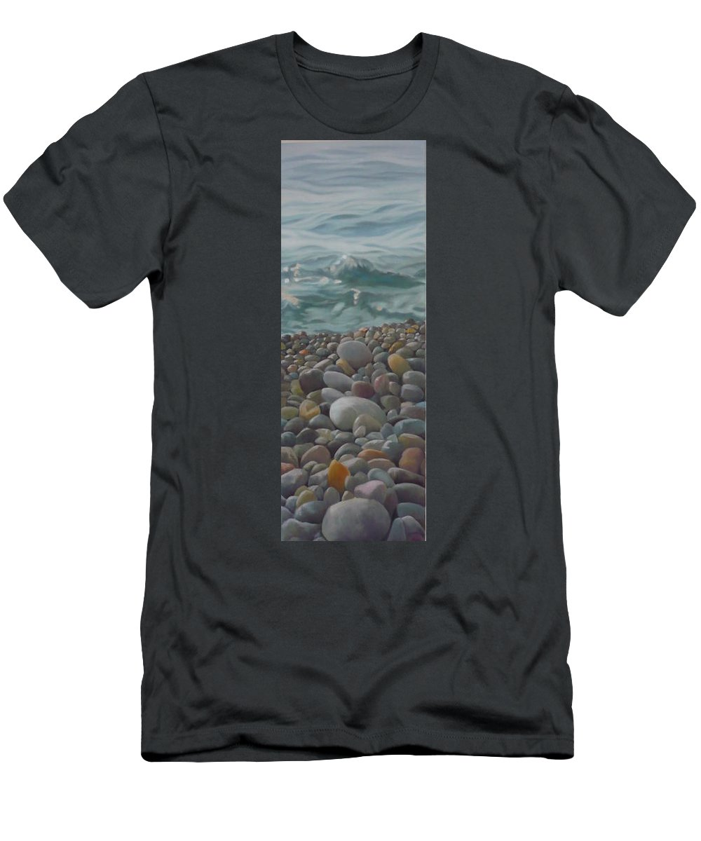 Sea Oil Pebbles Beach Stones Men's T-Shirt (Athletic Fit) featuring the painting Chios Pebbles by Caroline Philp