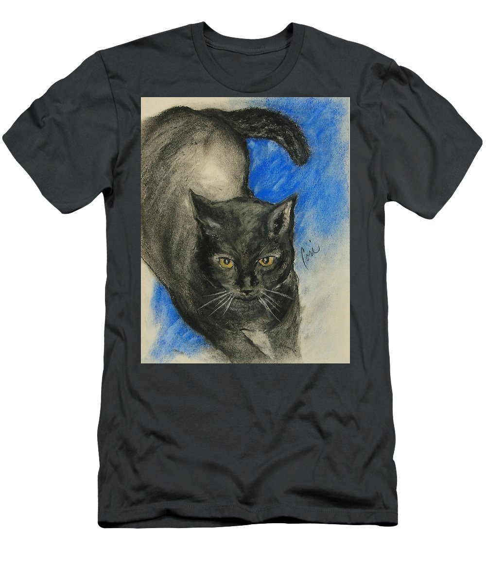 Cat Men's T-Shirt (Athletic Fit) featuring the drawing Chloe by Cori Solomon