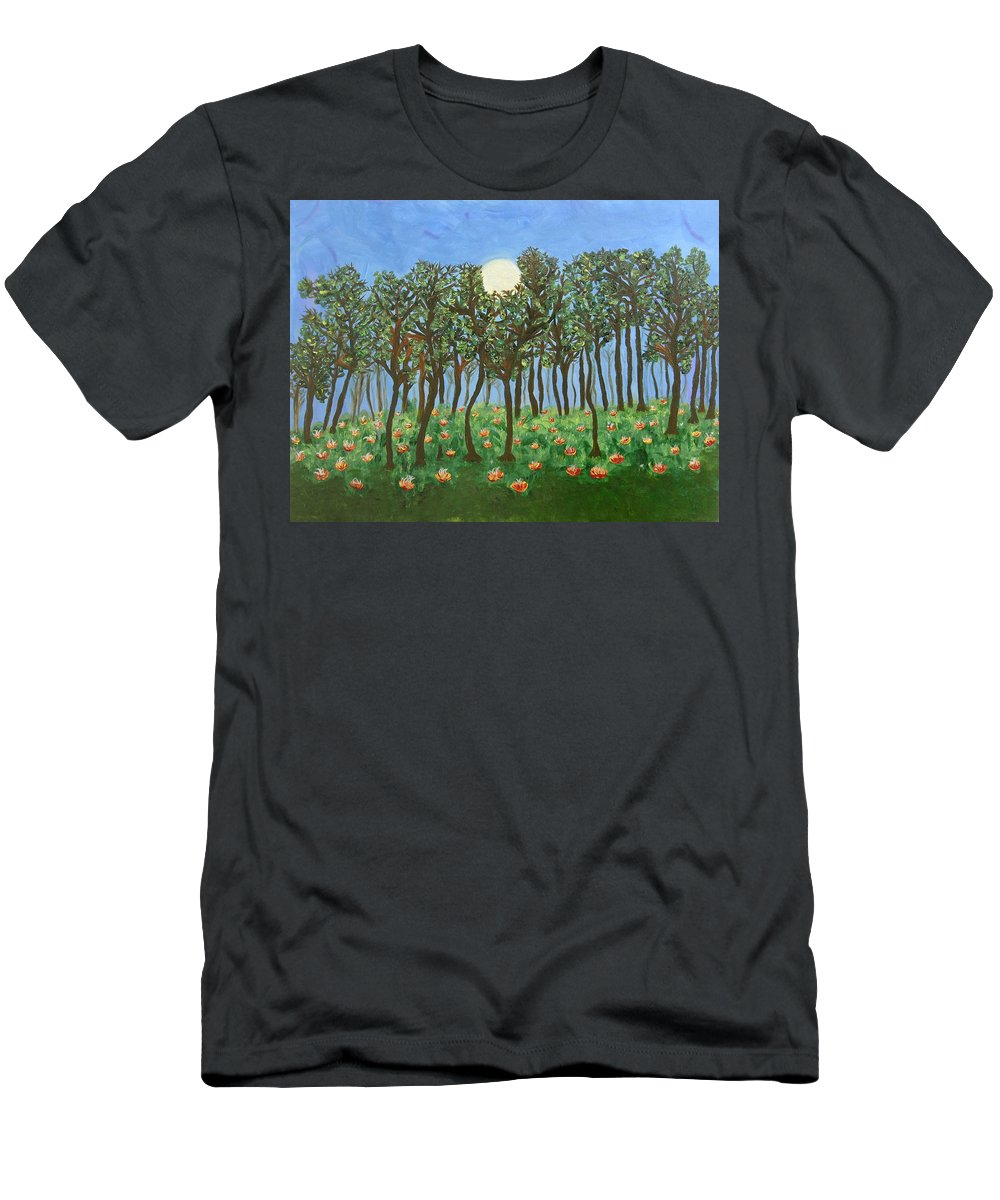 Landscape Men's T-Shirt (Athletic Fit) featuring the painting Chocolate Bark by Sara Credito