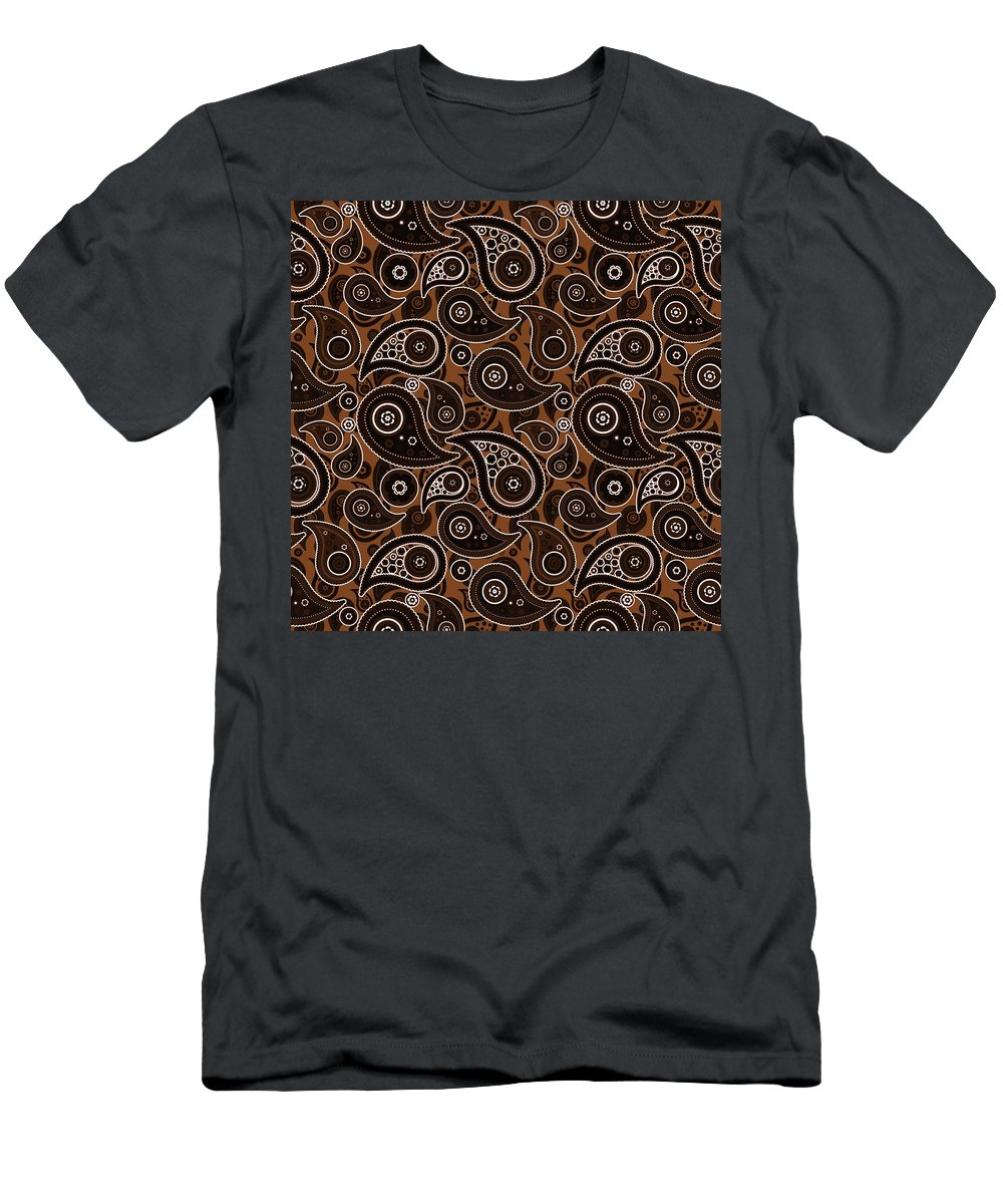 Chocolate Men's T-Shirt (Athletic Fit) featuring the digital art Chocolate Brown Paisley Design by Ross