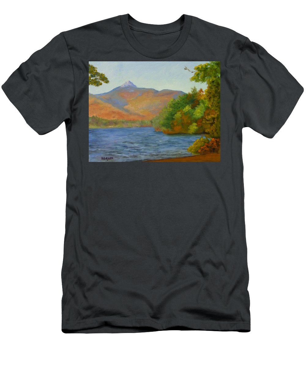 Mount Chocorua And Chocorua Lake Men's T-Shirt (Athletic Fit) featuring the painting Chocorua by Sharon E Allen