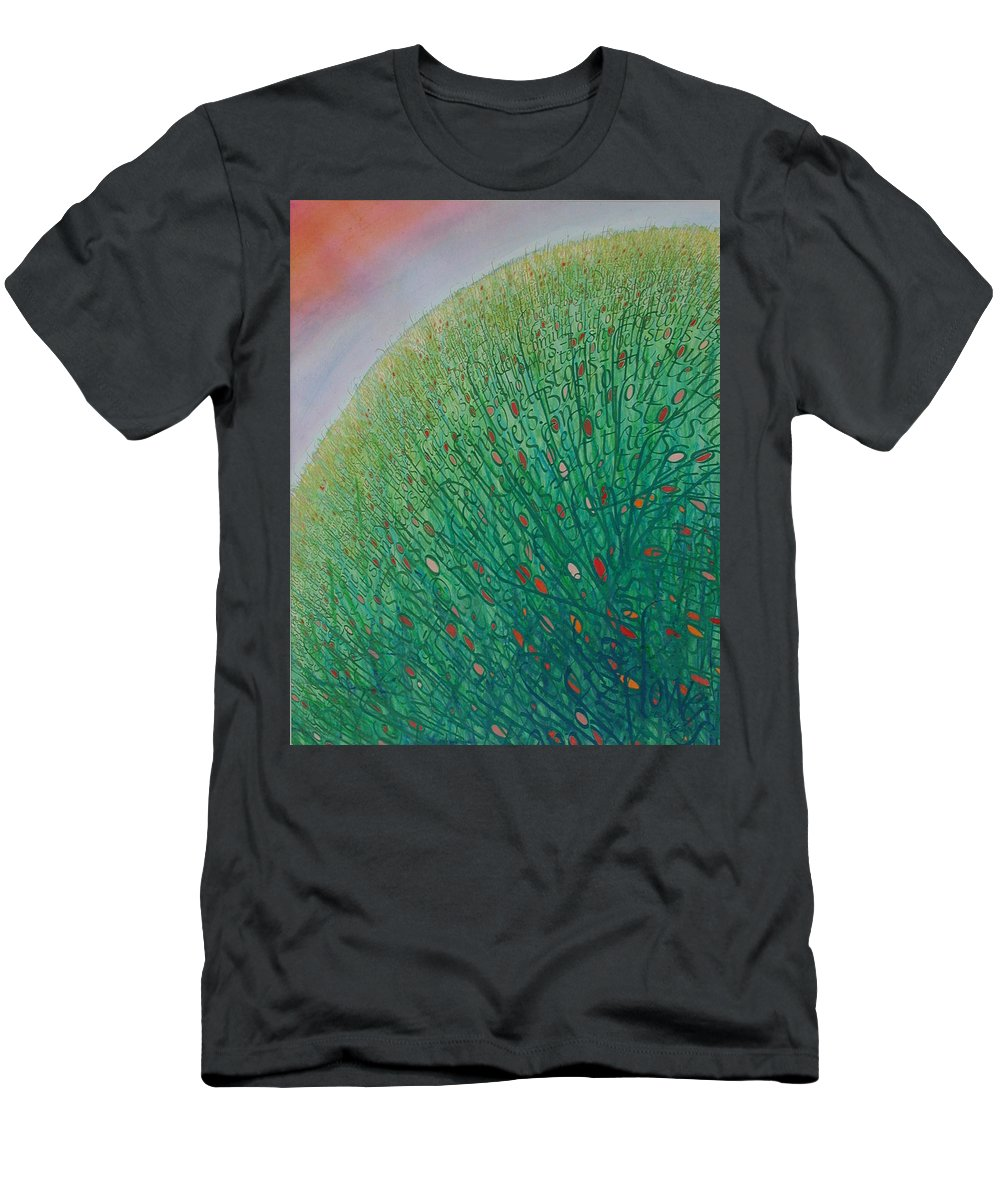 Calligraphy Men's T-Shirt (Athletic Fit) featuring the painting Choir by Sid Freeman