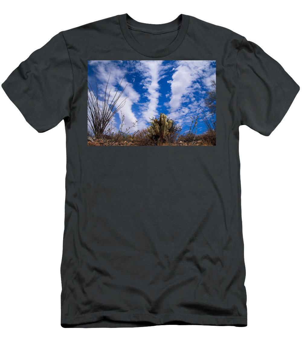 Men's T-Shirt (Athletic Fit) featuring the photograph Cholla Blue Sky by Kevin Mcenerney
