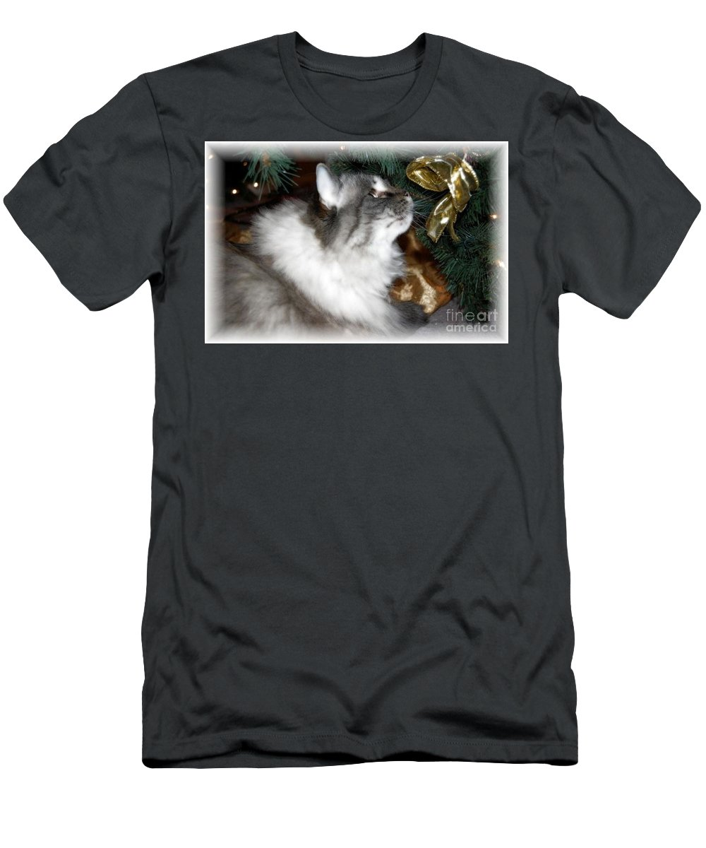 Christmas Men's T-Shirt (Athletic Fit) featuring the photograph Christmas Kitty by Debbi Granruth