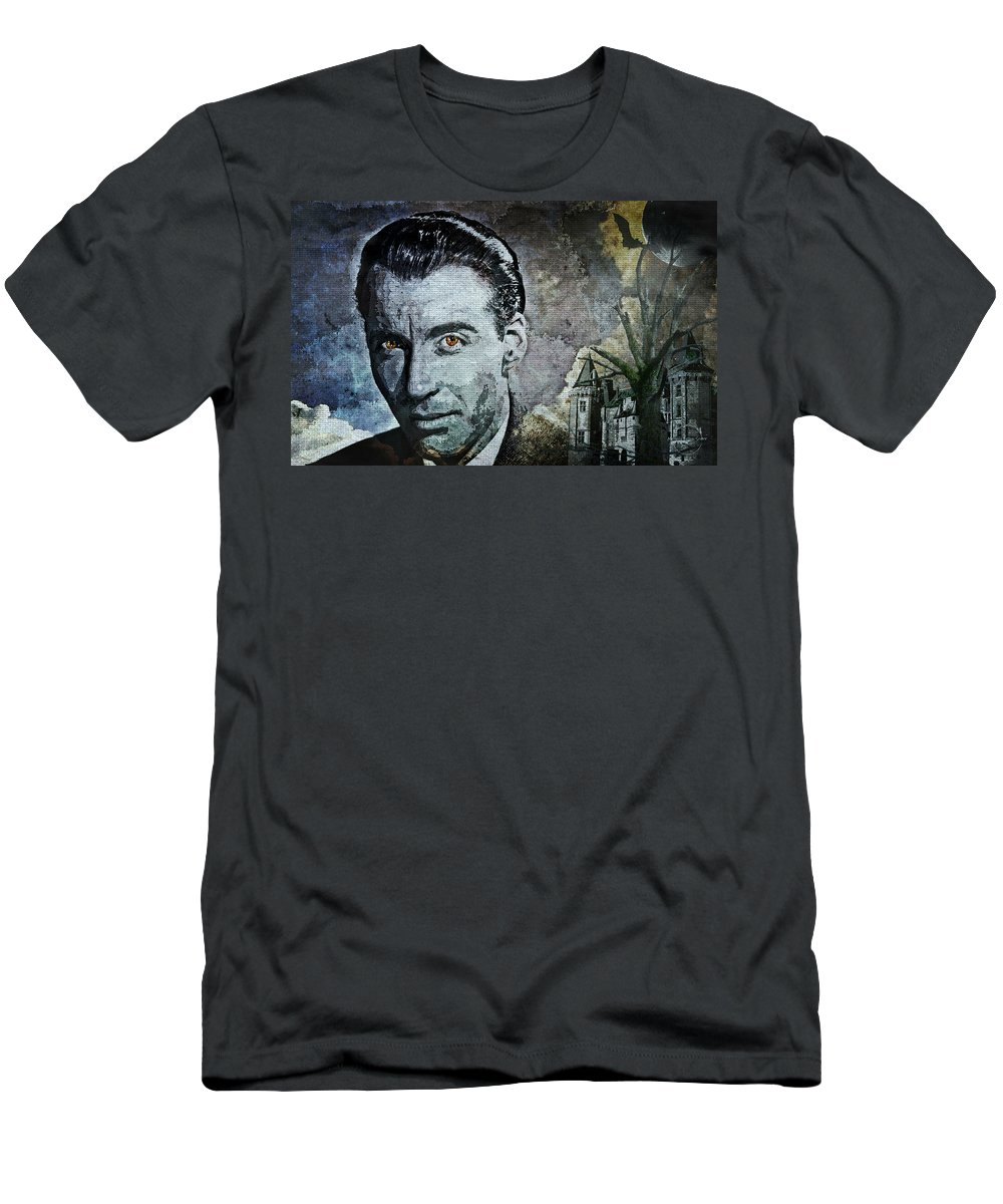 Christopher Lee Men's T-Shirt (Athletic Fit) featuring the digital art Christopher Lee by Absinthe Art By Michelle LeAnn Scott