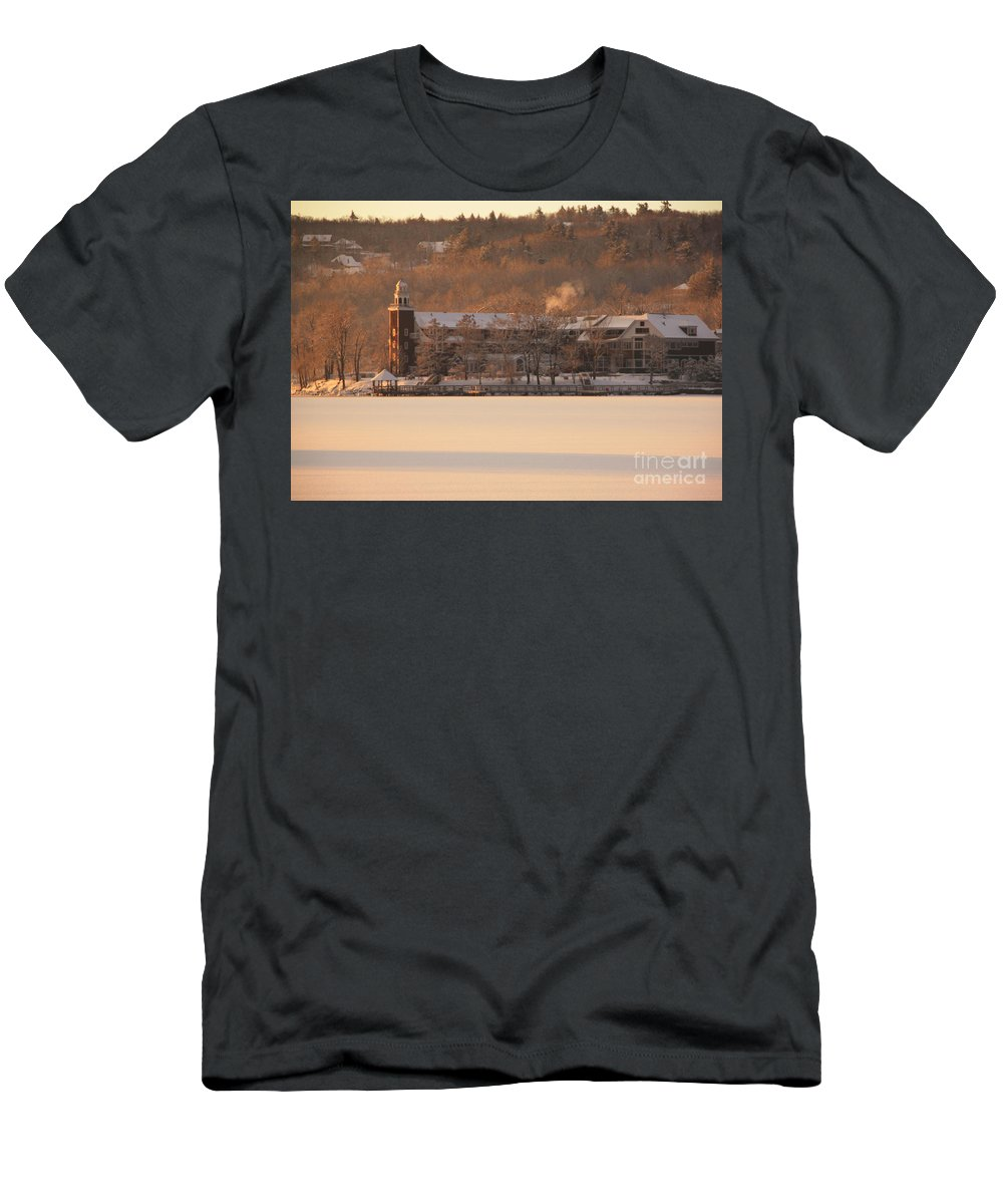 Church Landing Men's T-Shirt (Athletic Fit) featuring the photograph Church Landing In January by Michael Mooney
