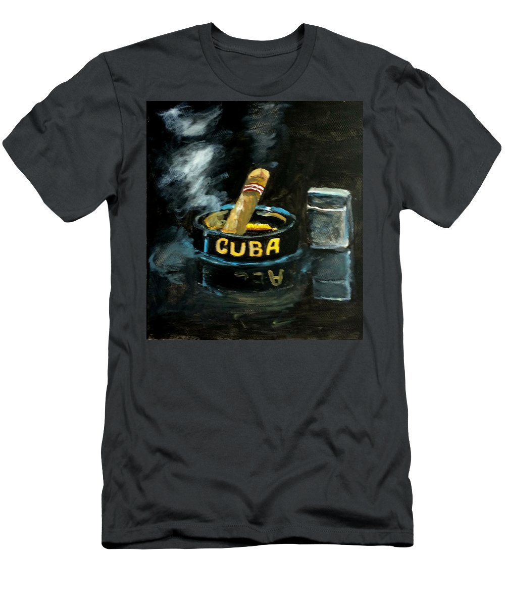 Still Life Men's T-Shirt (Athletic Fit) featuring the painting Cigar by Inessa Guterman