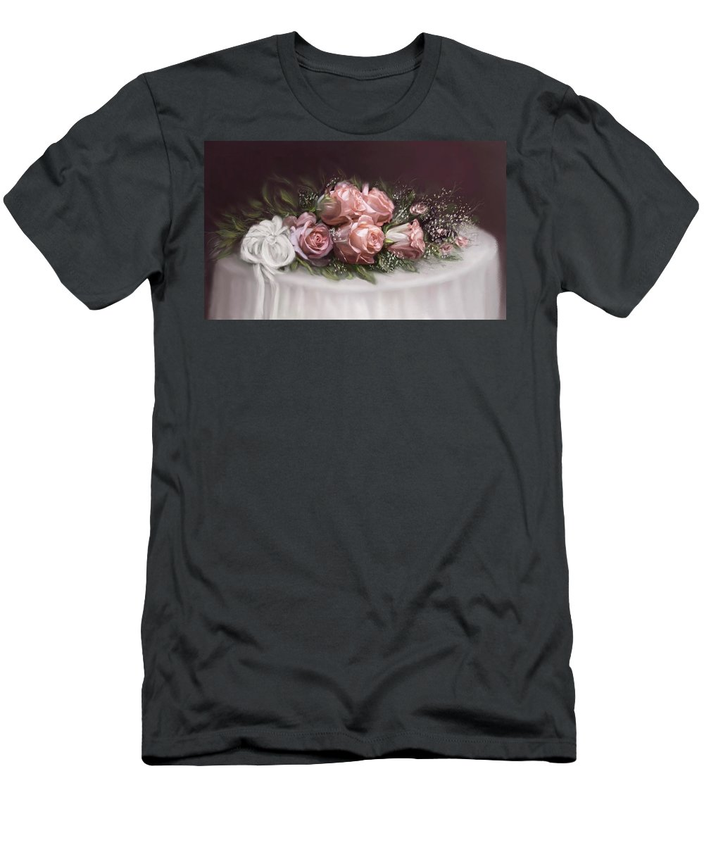 Roses Men's T-Shirt (Athletic Fit) featuring the painting Spray Of Roses by Bonnie Willis