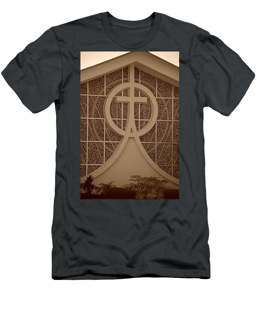 Sepia Men's T-Shirt (Athletic Fit) featuring the photograph Circle T Church by Rob Hans