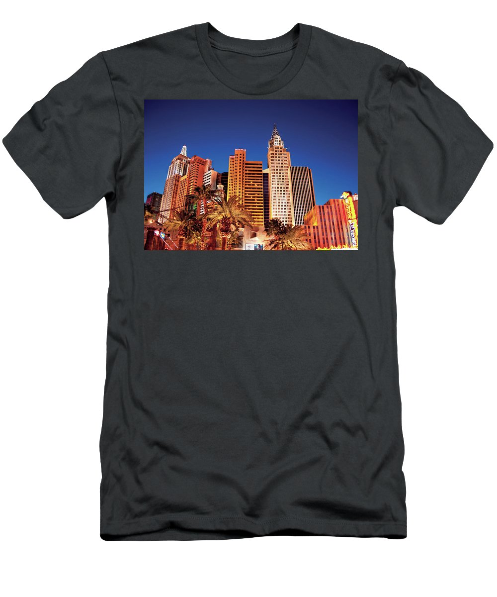 Savad Men's T-Shirt (Athletic Fit) featuring the photograph City - Vegas - Ny - The New York Hotel by Mike Savad
