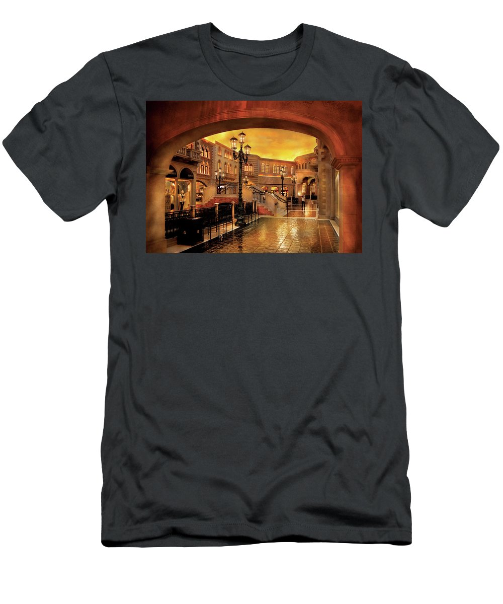 Savad Men's T-Shirt (Athletic Fit) featuring the photograph City - Vegas - Venetian - The Streets Of Venice by Mike Savad