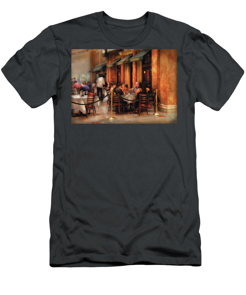 Savad Men's T-Shirt (Athletic Fit) featuring the photograph City - Venetian - Dining At The Palazzo by Mike Savad