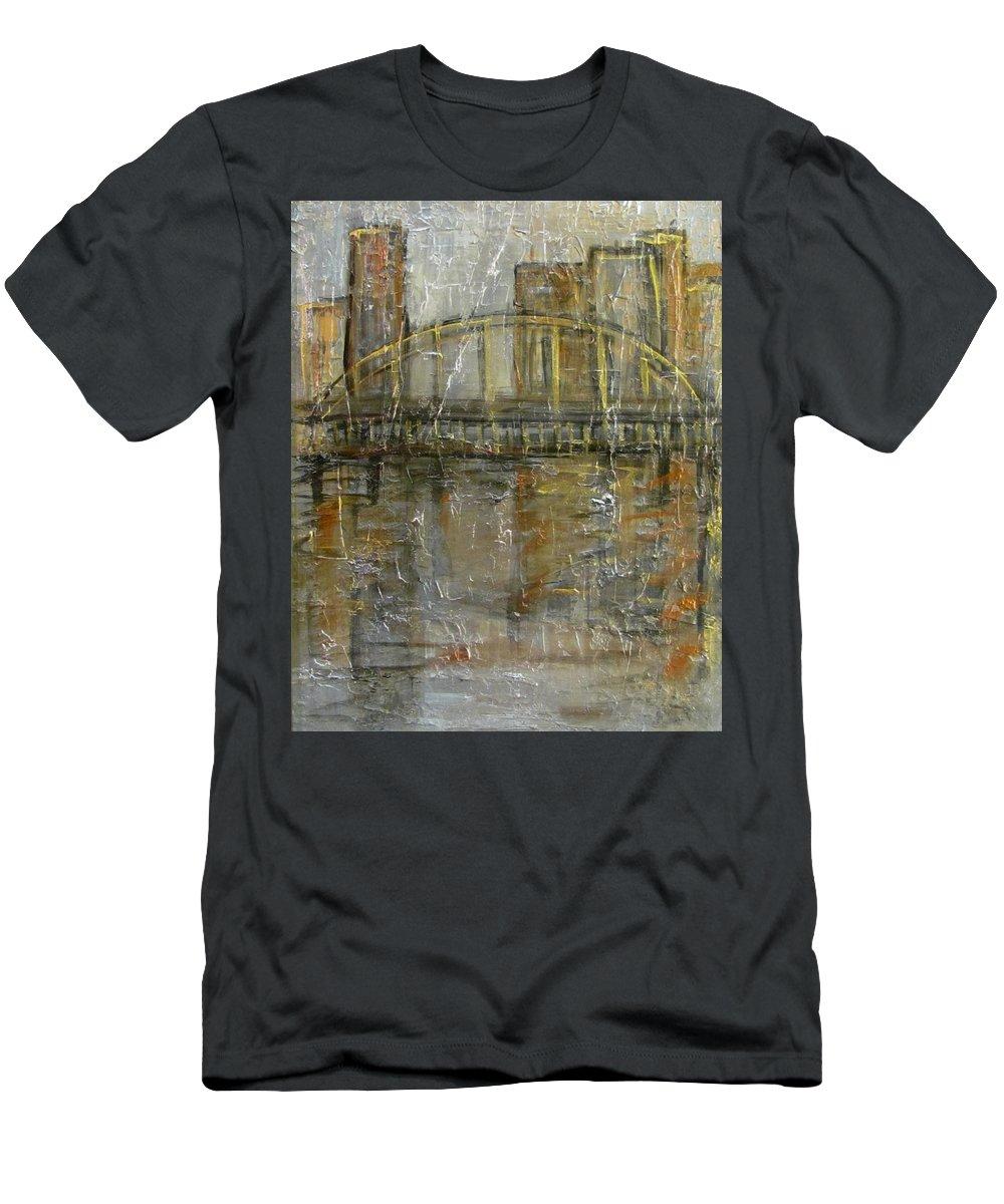 Bridge Men's T-Shirt (Athletic Fit) featuring the painting City Bridge by Anita Burgermeister