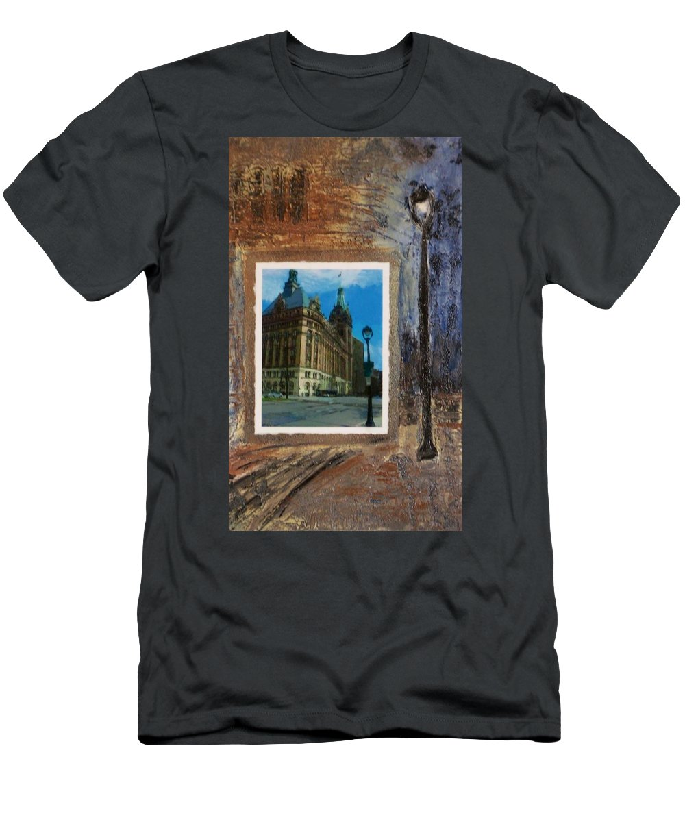 City Hall Men's T-Shirt (Athletic Fit) featuring the mixed media City Hall And Street Lamp by Anita Burgermeister