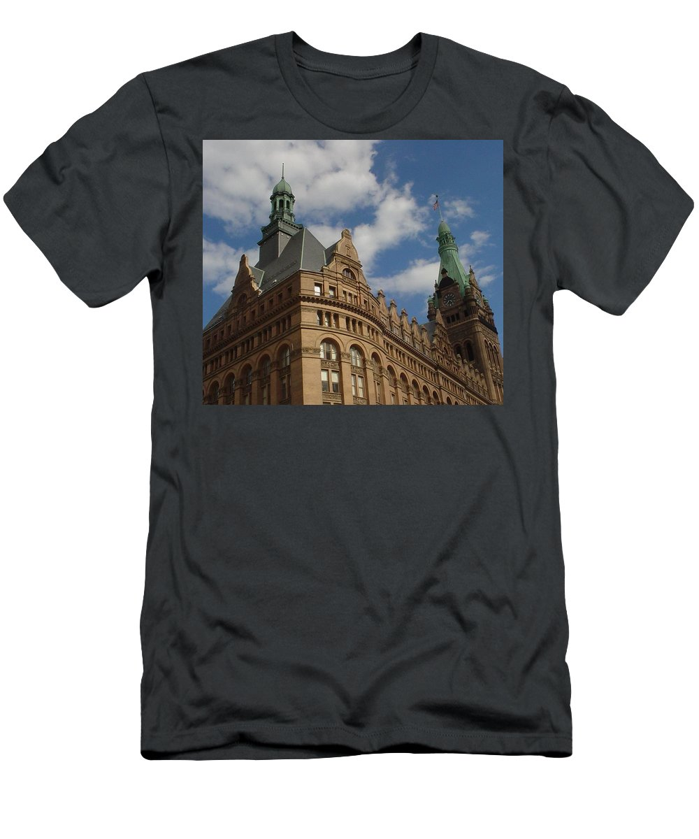 Milwaukee Men's T-Shirt (Athletic Fit) featuring the photograph City Hall Roof And Tower by Anita Burgermeister
