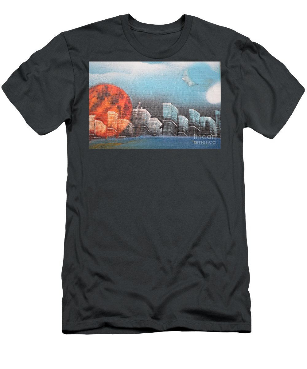 City Men's T-Shirt (Athletic Fit) featuring the painting City In The Day. by Zack Anderson