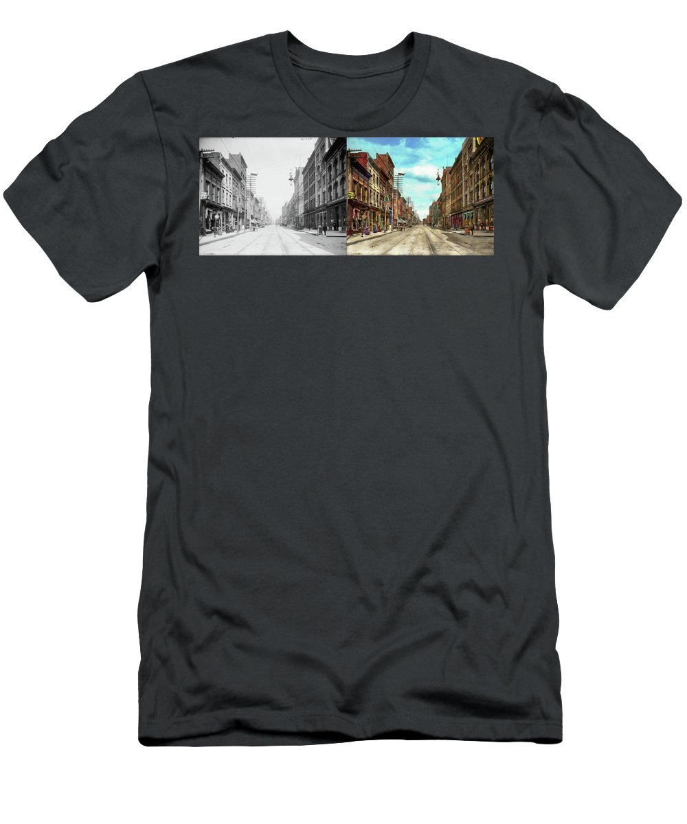 Self Men's T-Shirt (Athletic Fit) featuring the photograph City - Knoxville Tn - Gay Street 1903 - Side By Side by Mike Savad